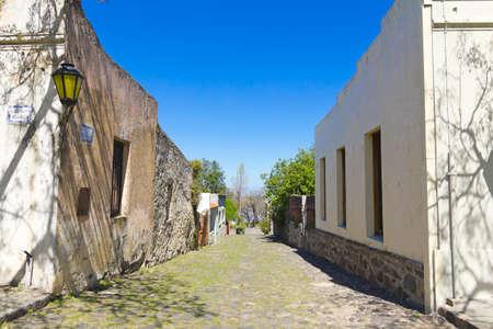 colonia del sacramento: Old colonial street, Colonia de Sacramento, on the banks of the Silver River, Uruguay