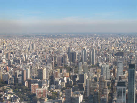 aires: Aerial photo  Panorama of Buenos Aires with smoke, Argentina The city is among the most polluted in the world, next to Hong Kong, Mexico DF and Santiago de Chile  Stock Photo