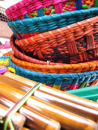 Andean flutes in a traditional product market  Chile, photo