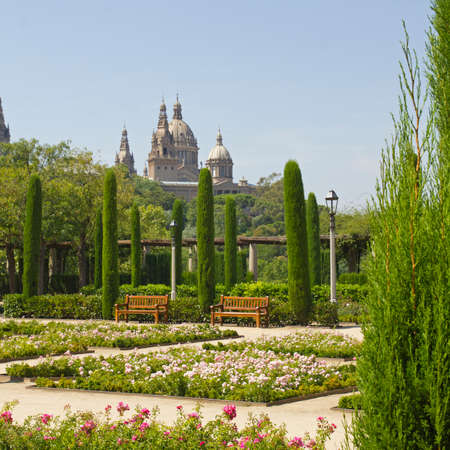montjuic: Barcelona Royal Palace seen from the gardens of Montjuic, Spain
