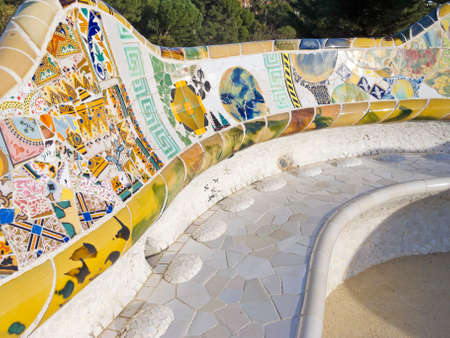 guell: Mosaic of Park Guell designed by Antonio Gaudi in Barcelona