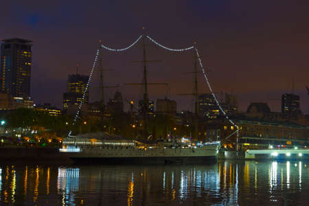 sarmiento: Ship by night in Buenos Aires, Argentina Stock Photo