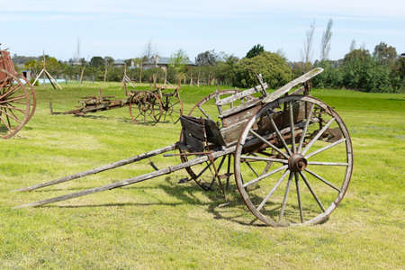 farming tools: Ancient wooden carriage of a shaft  Uruguay rural