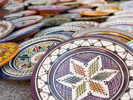 souvenir traditional: Sale of ceramic, typical of Morocco
