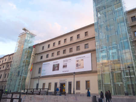 MADRID, SPAIN - MARCH 13: Sunset in Reina Sofia Museum on March 13, 2013 in Madrid. The Reina Sofia Museum is dedicated to the exhibition of modern and contemporary art.