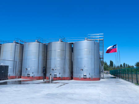 Some wine metallic fermentation tanks. Wine industry in Chile