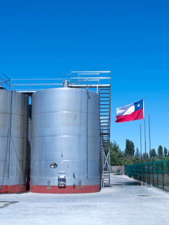 fermenting: Some wine metallic fermentation tanks. Wine industry in Chile Editorial