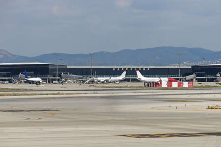 airways: Barcelona International Airport panorama. Airport if one of the biggest in Europe and the second largest in Spain.