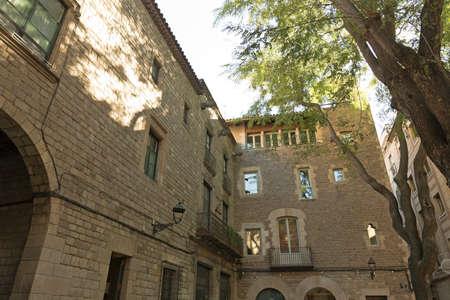 old quarter: Saint Felip neri Square. Small corner arched Gothic Quarter of Barcelona