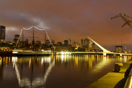 aires: Buenos Aires, Argentina. Puerto Madero by night Stock Photo