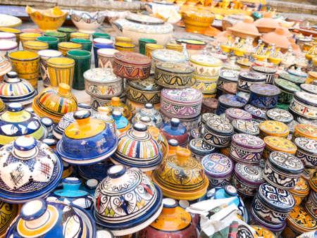 souvenir traditional: Moroccan ceramic sale in outdoor market Stock Photo