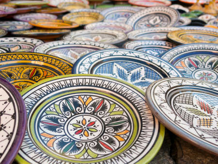 spanish ethnicity: Moroccan ceramic sale in outdoor market Stock Photo