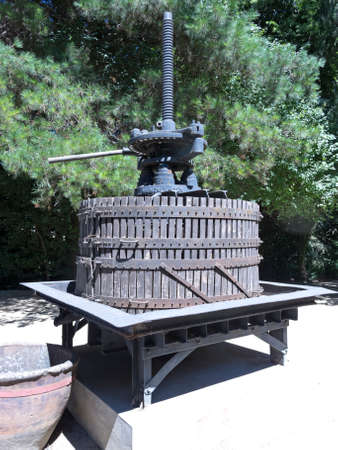 exporter: Ancient wine press. Traditional old technique of winemaking. The Chilean wine industry is the 7th world producer and the biggest exporter of South America.