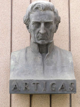 artigas: Statue of General Artigas, hero of the independence of the Republic of Uruguay and Argentina Stock Photo