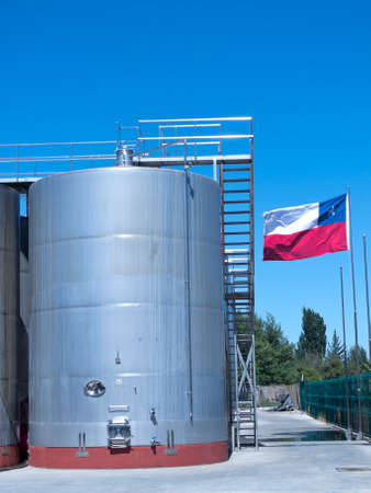 Some wine metallic fermentation tanks. Wine industry in Chile.  The Chilean wine industry is the 7th world producer and the biggest exporter of South America.