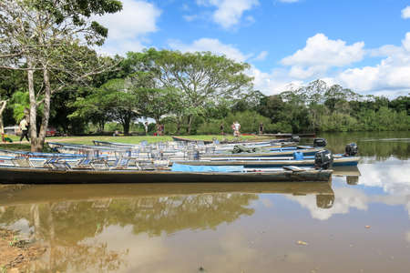 dawning: Santa Rosa MAY 5: Boats in Madidi River on May May 2015 in Beni Region Bolivia. The rivers are the main roads in the Amazon jungle.