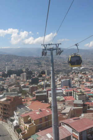 la paz: LA PAZ - MAY 6: Cityscape of La Paz on May 6, 2015 in La paz, Bolivia. To stop the pollution due to transportation, the funicular runs from 2014. Editorial