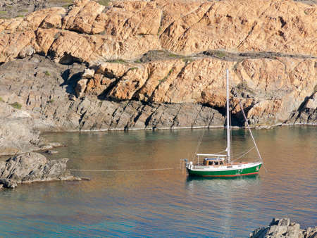 northern spain: Boats on mediterranean bay. The Cap de Creus, a natural park, is ideal for excursions on foot or by boat. Situated in the northern Costa Brava, Girona province, Catalonia, Spain.