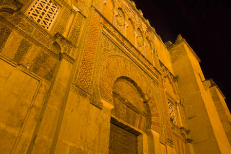 religious building: Main door of the cathedral-mosque of Cordoba. Night Scene. Andalusia, Spain