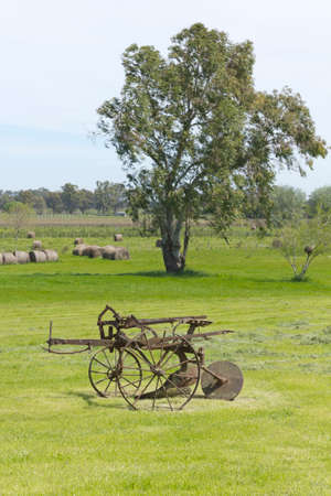 time passing: Former agricultural mower. Time passing, rural scene.