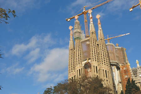 barcelona cathedral: BARCELONA, SPAIN - DEC 26, 2014: La Sagrada Familia - the impressive cathedral designed by Gaudi, which is being build since Mar 19, 1882 and is not finished yet. Editorial
