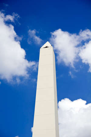 obelisc: Obelisco. Avenida 9 de Julio is a wide avenue in the city of Buenos Aires, Argentina. Its name honors Argentinas Independence Day, July 9, 1816. Stock Photo
