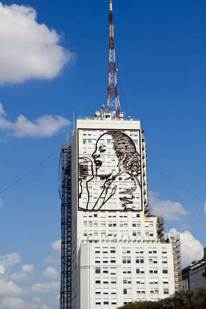 evita: Skyscraper with homage to Evita Peron, on Avenida 9 de Julio in Buenos Aires, Argentina.