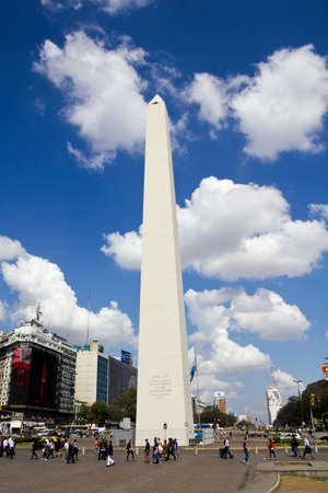 corrientes: BUENOS AIRES - SEP 12: Obelisco on September 12, 2012 in Buenos Aires. Located at the junction of Avenida 9 de Julio and Corrientes Street. Its name honors Argentinas Independence Day, July 9, 1816.