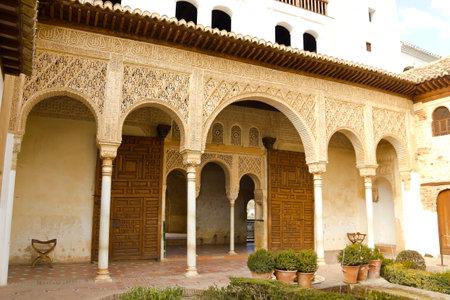 GREEN BUILDINGS: View of the Patio de la Acequia in the Palacio del Generalife, part of the La Alhambra complex in Granada, Spain.