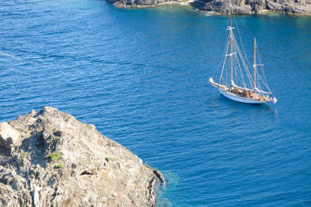 costa brava: Sailing ship in the Mediterranean Sea. Cap de Creus Park. Costa Brava of Catalonia in Spain Stock Photo