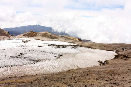 climate: Glacier Volcano Nevado del Ruiz. Due to climate change, the glacier is running. Of the 14 glaciers that had in the twentieth century in Colombia, today only 6.