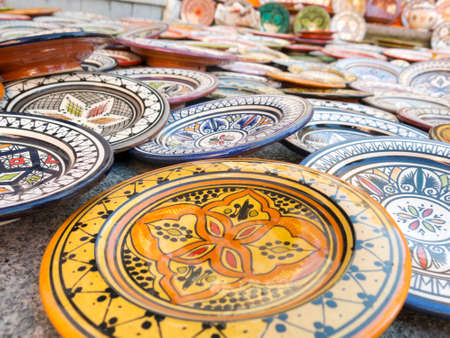 spanish ethnicity: Sale of ceramic, typical of Morocco.