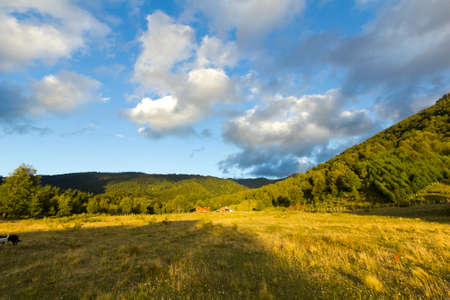 america countryside: landscape at sunset in Conguillo Park, Chile Stock Photo