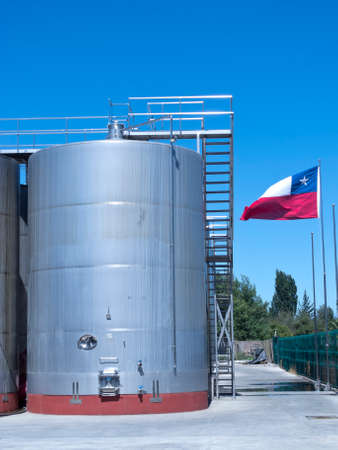 fermenting: Some wine metallic fermentation tanks. Wine industry in Chile Stock Photo