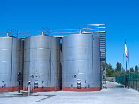 wine industry: Some wine metallic fermentation tanks. Wine industry in Chile Stock Photo