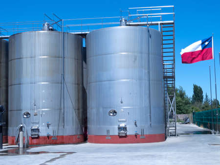 fermentation: Some wine metallic fermentation tanks. Wine industry in Chile Stock Photo