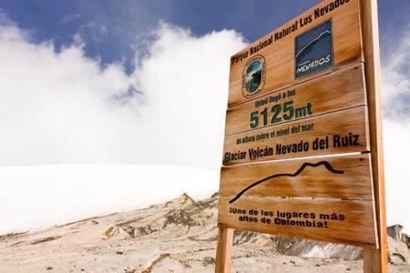 nevado: Glacier Volcano Nevado del Ruiz signboard.  Due to climate change, the glacier is running. Of the 14 glaciers that had in the twentieth century, today only 6. Editorial
