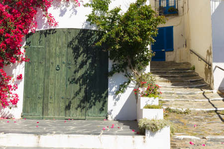 adorned: Mediterranean house, adorned with flowers and plants. Costa Brava, Catalonia, Spain