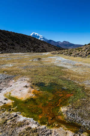 geysers: Andean geysers. Junthuma geysers, formed by geothermal activity. Bolivia. The thermal pools allow a healthy and medicinal bath for tourists