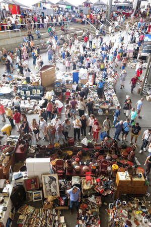 BARCELONA, SPAIN - AUGUST 1, 2015: Top view of Flea market in Barcelona, Spain. Mercat Fira de Bellcaire is one of the oldest markets in Europe, has been known since the 14th century Editorial