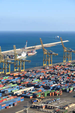 shipped: BARCELONA, SPAIN - JULY 23, 2015: Port of Barcelona - logistics port area in Barcelona. Has more than 3,000 metres of berthing line, 17 container cranes Editorial