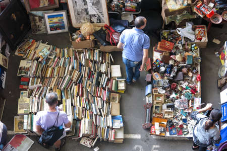 BARCELONA, SPAIN - AUGUST 1, 2015: Top view of Flea market in Barcelona, Spain. Mercat Fira de Bellcaire is one of the oldest markets in Europe, has been known since the 14th century Redakční