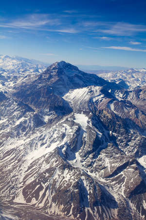 andes mountain: Mount Aconcagua in Mendoza, Andes Mountain Range, border between Argentina and Chile. Argentina (highest pick in America continent). Aerial photo.