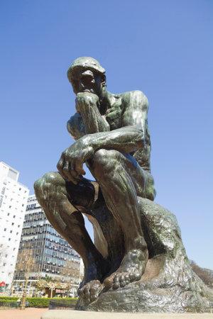 pensador: El pensador de Rodin-segunda echada en el reparto original y firmada por el propio Rodin. Buenos Aires, Argentina