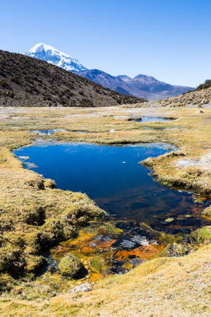 Andean geysers. Junthuma geysers, formed by geothermal activity. Bolivia. The thermal pools allow a healthy and medicinal bath for tourists