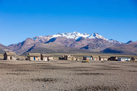 Small village of shepherds of llamas in the Andean mountains.