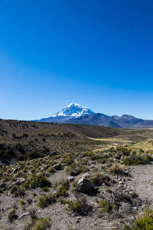 puna: High Andean tundra landscape in the mountains of the Andes. The weather Andean Highlands Puna grassland ecoregion, of the montane grasslands and shrublands biome. Stock Photo