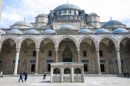 suleyman: ISTANBUL, TURKEY - MAY 21, 20126: The courtyard of the Suleymaniye Mosque. The Suleymaniye Mosque is the largest mosque in the city, and one of the best-known sights of Istanbul.