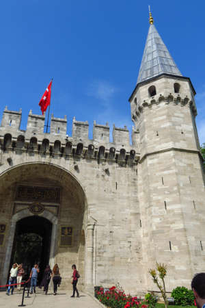reign: ISTANBUL, TURKEY - MAY 20, 2016: The Gate of Salutation, entrance to the Second courtyard of Topkapi Palace, Istanbul, Turkey, on May 20,2016. It was the residence of the Sultans for 400 years Editorial