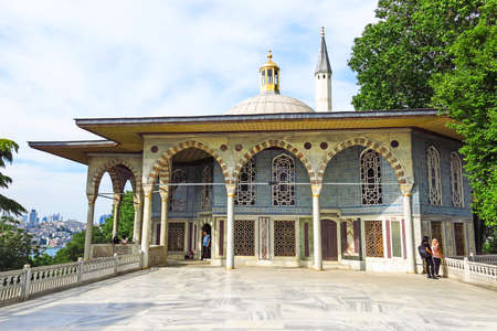 ISTANBUL, TURKEY - MAY 20, 2016: View towards Baghdad Kiosk situated in the Topkapi Palace in Istanbul, Turkey. Topkapi Palace was the primary residence of the Ottoman sultans for approximately 400 years.